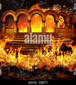 Les portes de l'enfer avec des escaliers et des colonnes de feu portail flammes et fumée. Banque D'Images