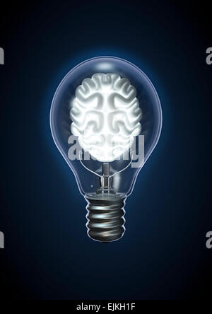 3D render of glowing brain inside Light bulb Banque D'Images