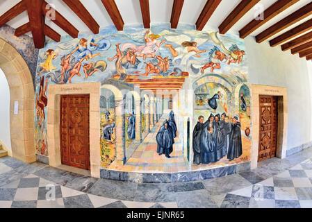 L'Espagne, la Galice: peintures murales réalisées par Célia Cortes dans le cloître du Monastère de San de La Ribera Banque D'Images
