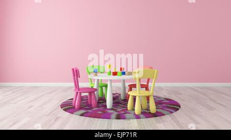 Le rendu 3D Enfant avec table et chaises colorées Banque D'Images