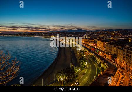 Coucher de soleil sur Nice Banque D'Images