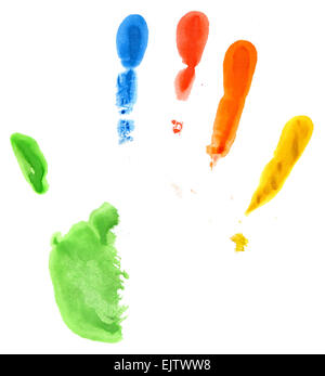 Close up of hand print colorés sur fond blanc Banque D'Images