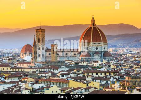 La Cathédrale et la coupole de Brunelleschi. Florence, Italie Banque D'Images