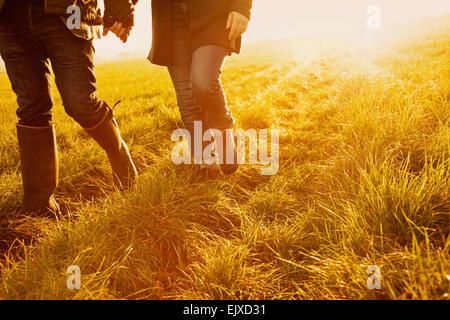 Couple en train de marcher dans un champ tenant les mains, Low Section Banque D'Images