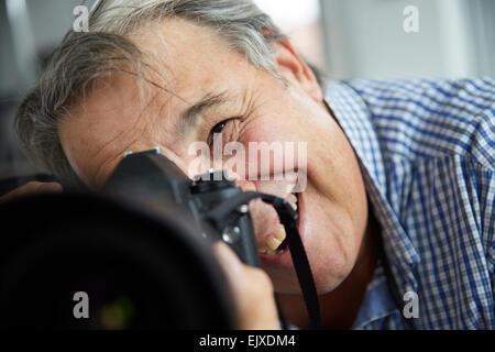 Photographe Photo prise mâle, Close-up View Banque D'Images