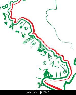 La carte italienne whit symbole sur fond blanc Banque D'Images