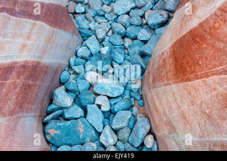Section de la rivière des roches qui ont s'accumuler entre une plus grande crevasse de red rock sur les dômes blancs sentier dans la Vallée de Feu Banque D'Images