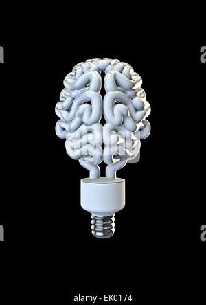 3D render du cerveau humain comme l'ampoule de l'énergie Banque D'Images