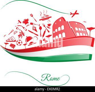 Rome colisée avec drapeau italien sur l'élément de l'alimentation Banque D'Images