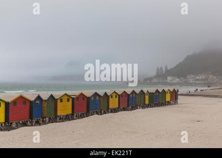 Multi-couleur des cabines de plage sur la plage de Muizenberg, Western Cape, Afrique du Sud. Banque D'Images
