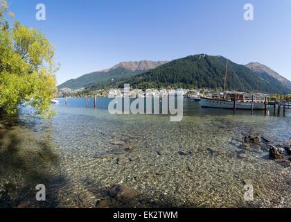 Le lac Wakatipu, Queenstown, île du Sud, Nouvelle-Zélande. Banque D'Images