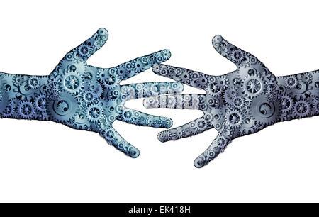 Entreprise de travail d'équipe concept comme un groupe d'engins mécaniques en forme de roue dentée et comme deux Banque D'Images