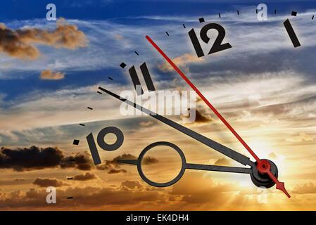 Le temps passe avec le lever du soleil Banque D'Images