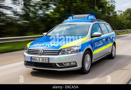 Voiture de police, l'autoroute Autobahn voiture de patrouille, Banque D'Images