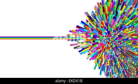 Blocs de couleur centre résumé avec rainbow line Banque D'Images