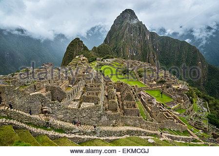 Les ruines Inca de Machu Picchu, au Pérou. Banque D'Images