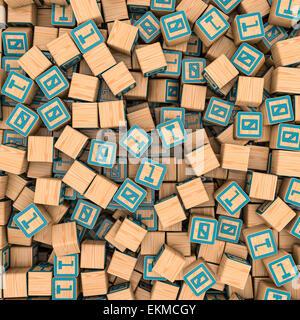 Le rendu 3D de centaines de blocs de jouets avec un binaire et zéro droit de remplissage Banque D'Images