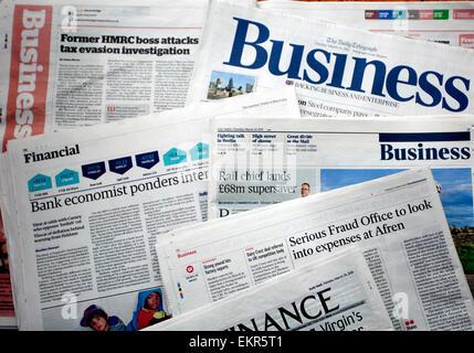 Pages d'affaires des journaux nationaux du Royaume-Uni, Londres Banque D'Images