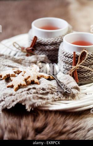 Vin chaud avec gingerbread cookies Banque D'Images