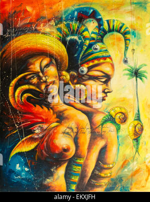 Cuba Trinidad Plaza Mayor, Casa de Aldeman Ortiz galerie d'art pour les artistes locaux peinture ethnique deux filles Banque D'Images