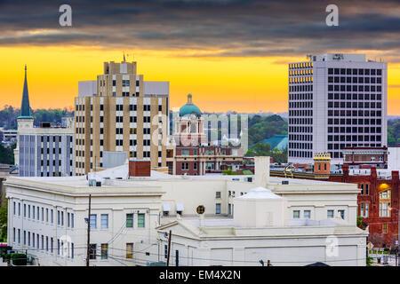 Macon, Géorgie, USA Centre-ville paysage urbain à l'aube. Banque D'Images