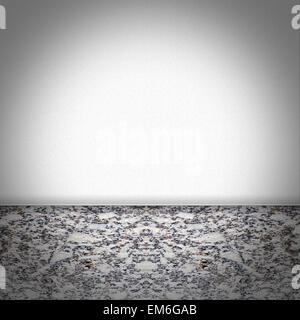 Salle vide avec un sol en marbre noir et blanc Banque D'Images