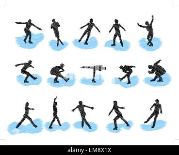 Set of figure skating grunge silhouettes Banque D'Images