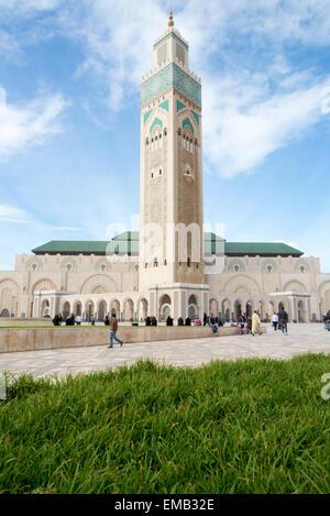 Vue panoramique sur la Mosquée Hassan II à Casablanca, Maroc Banque D'Images