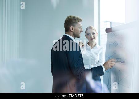Les gens d'affaires de discuter de nouvelles stratégies au chevalet Banque D'Images