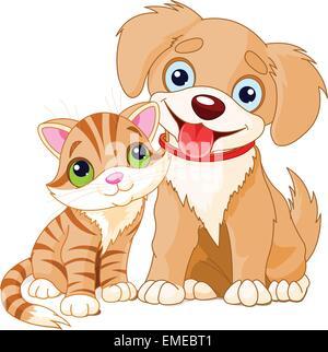 Chiens et chats Banque D'Images