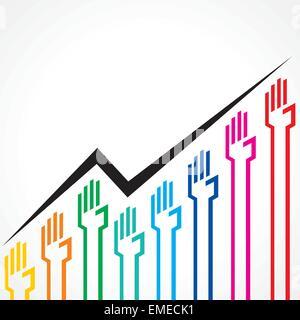 Graphique d'affaires faites par colorful hand stock icons vector Banque D'Images