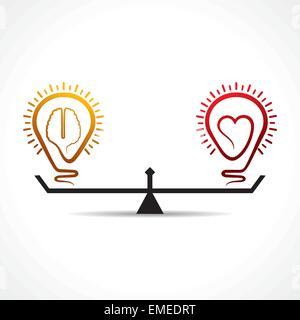 L'égalité du cœur et du cerveau vecteur concept Banque D'Images