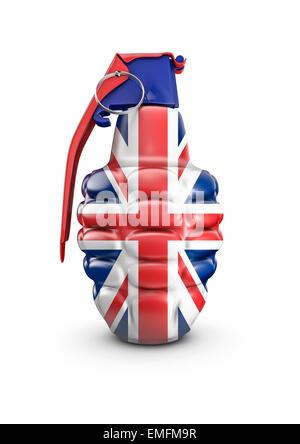 Le rendu 3D de grenade à main décoré avec des couleurs du drapeau Union Jack britannique Banque D'Images