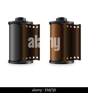 3D La Photographie Les diapositives de bande bobine photostrip isolé sur fond blanc Banque D'Images