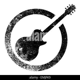 Une guitare Gibson ÉLECTRIQUE BLEU SUR UN FOND NOIR AVEC ...