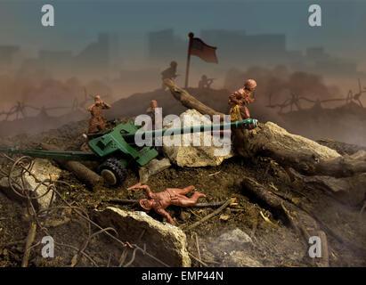 Attaque de bataille de jouets. Jouet en plastique de la scène de guerre avec des soldats, des armes, des explosions, Banque D'Images