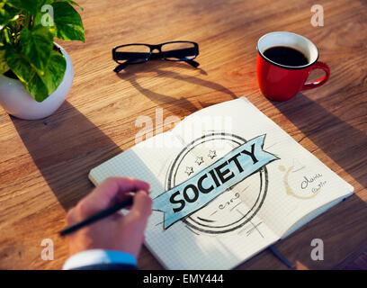 Tableau de l'homme d'affaires avec la Société Concept Banque D'Images