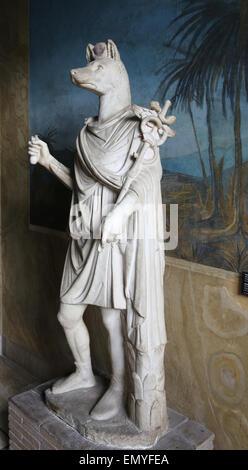 L'art romain statue du dieu Hermanubis. Hybride d'Anubis et le dieu grec Hermès.. En. 1er-2e siècle. Musées du Vatican Banque D'Images