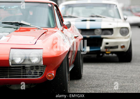 Image montrant deux classiques américains voitures garées l'une derrière l'autre.