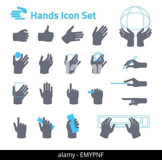 Icon Set mains site web ou application. Modèle plat Banque D'Images