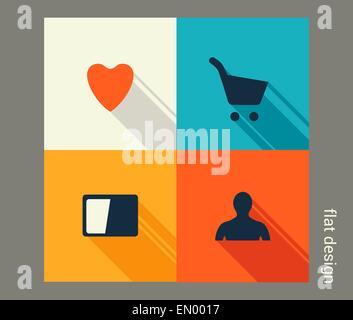 Business icon set. La gestion, le marketing, l'e-commerce solutions. Modèle plat Banque D'Images