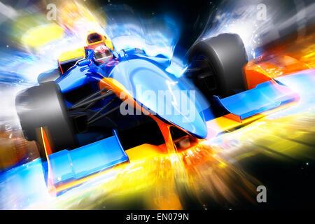 F1 le bolide avec effet de lumière. Race car sans nom de marque est conçu et modélisé par moi-même Banque D'Images