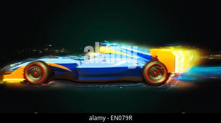 Voiture de course de Formule Un sentier de lumière. Race car sans nom de marque est conçu et modélisé par moi-même Banque D'Images