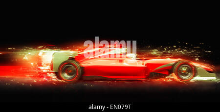 Voiture de course de Formule 1 avec effet de lumière. Race car sans nom de marque est conçu et modélisé par moi Banque D'Images