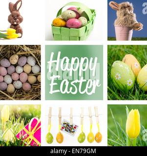 Image composite de l'omble les oeufs de Pâques colorés dans un panier en osier vert Banque D'Images