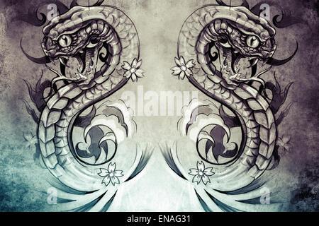 Conception de tatouage sur fond gris. toile texturée. L'image artistique Banque D'Images