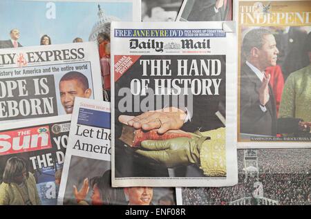 Les journaux britanniques à la suite de l'investiture du président américain Barack Obama le 20 janvier 2009. Banque D'Images