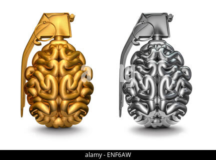 3D render of brain comme grenade dans l'or et l'argent Banque D'Images