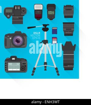 Ensemble appareil photo DSLR vector Banque D'Images