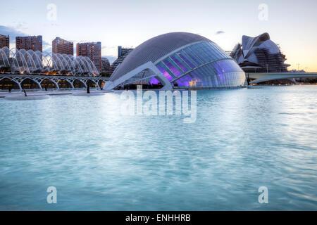 La Cité des Arts et des sciences, l'Hemisferic, Valencia, Espagne Banque D'Images